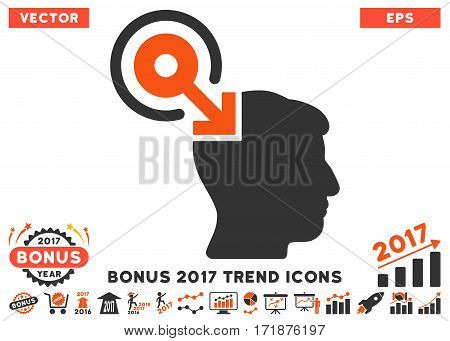 Orange And Gray Brain Interface Plug-In pictogram with bonus 2017 trend pictograph collection. Vector illustration style is flat iconic bicolor symbols white background.