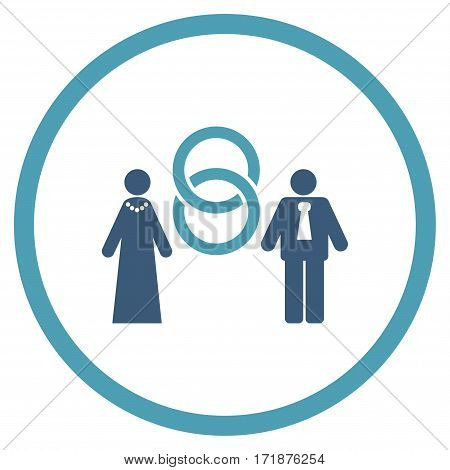 Marriage Persons rounded icon. Vector illustration style is flat iconic bicolor symbol inside circle cyan and blue colors white background.