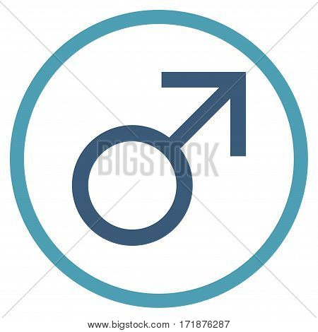 Mars Male Symbol rounded icon. Vector illustration style is flat iconic bicolor symbol inside circle cyan and blue colors white background.