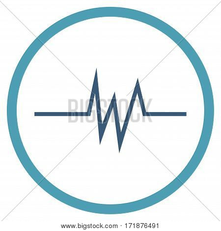 Pulse Signal rounded icon. Vector illustration style is flat iconic bicolor symbol inside circle cyan and blue colors white background.