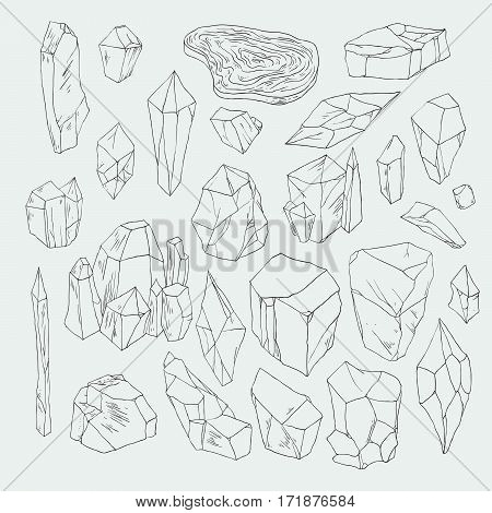 Minerals and crystals natural shapes vector illustration