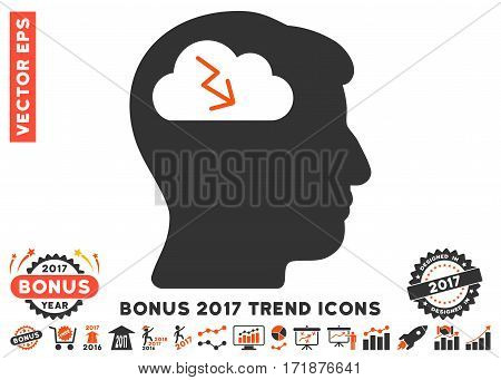 Orange And Gray Brainstorming pictogram with bonus 2017 year trend pictograms. Vector illustration style is flat iconic bicolor symbols white background.