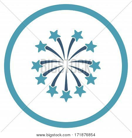 Spherical Fireworks rounded icon. Vector illustration style is flat iconic bicolor symbol inside circle cyan and blue colors white background.