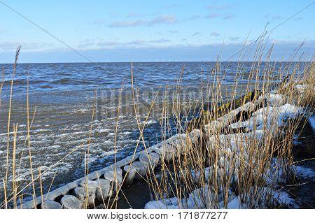 Amazing winterly coast in January in Denmark