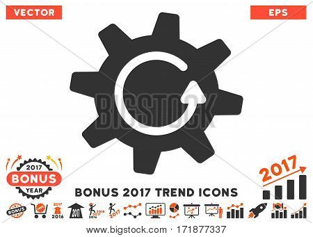 Orange And Gray Cogwheel Rotation Direction icon with bonus 2017 trend pictograms. Vector illustration style is flat iconic bicolor symbols white background.