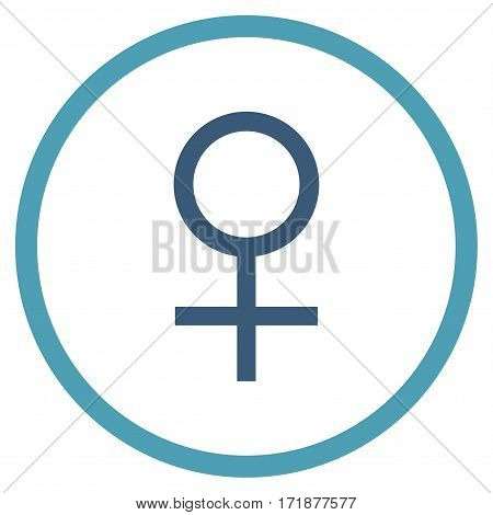 Venus Female Symbol rounded icon. Vector illustration style is flat iconic bicolor symbol inside circle cyan and blue colors white background.