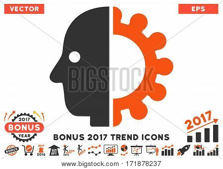 Orange And Gray Cyborg Head icon with bonus 2017 year trend images. Vector illustration style is flat iconic bicolor symbols white background.