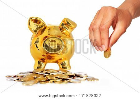 Piggy bank and coins isolated over white background.
