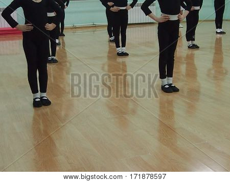 Girls in music hall at a lesson of dances