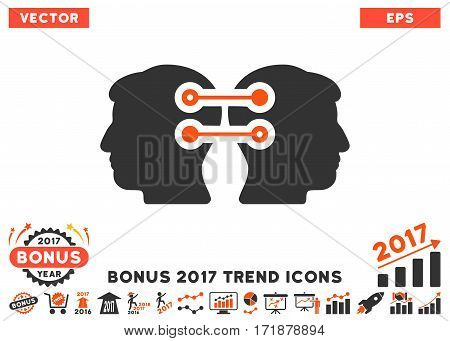 Orange And Gray Dual Heads Interface Connection icon with bonus 2017 year trend symbols. Vector illustration style is flat iconic bicolor symbols white background.