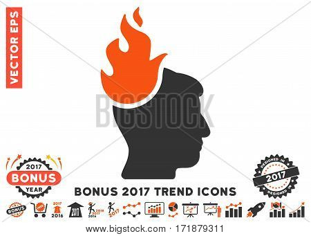 Orange And Gray Fired Head pictogram with bonus 2017 year trend elements. Vector illustration style is flat iconic bicolor symbols white background.