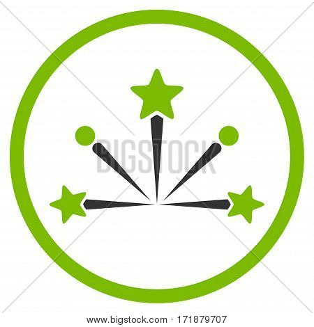 Fireworks Bang rounded icon. Vector illustration style is flat iconic bicolor symbol inside circle eco green and gray colors white background.