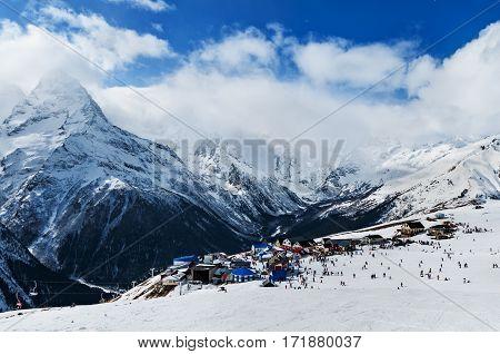 Modern ski resort in mountains. Dombai Russia