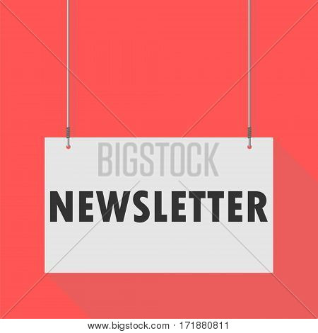 Simple Hanging Sign newsletter on red background