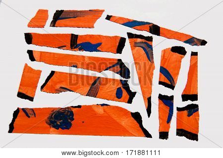 A set of orange abstract-style painted masking tape pieces