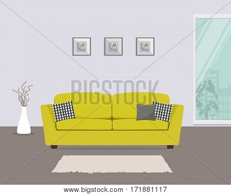 Living room with yellow sofa and gray pillows. There is also a big window, pictures and a vase in the picture. Vector flat illustration.