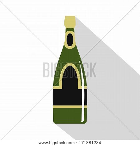 Champagne bottle icon. Flat illustration of champagne bottle vector icon for web