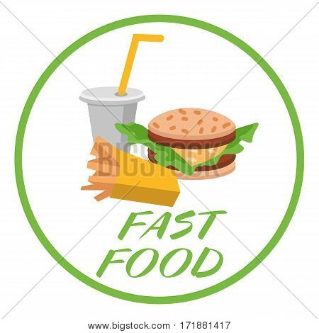 Lunch french fries, burger and soda. Flat design. Vector illustration of fast food on gray