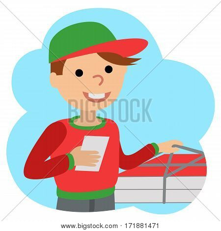 Pizza delivery man in uniform standing with box in his hands. Icone in cloud on white background.