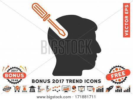 Orange And Gray Head Surgery Screwdriver pictogram with bonus 2017 trend elements. Vector illustration style is flat iconic bicolor symbols white background.