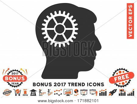 Orange And Gray Intellect Cog icon with bonus 2017 trend elements. Vector illustration style is flat iconic bicolor symbols white background.