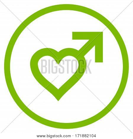 Male Heart rounded icon. Vector illustration style is flat iconic bicolor symbol inside circle eco green and gray colors white background.