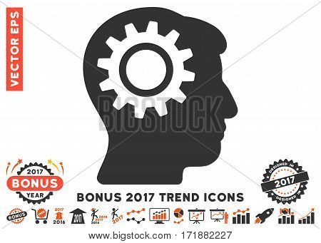 Orange And Gray Intellect Gear icon with bonus 2017 year trend pictures. Vector illustration style is flat iconic bicolor symbols white background.