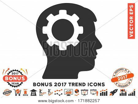 Orange And Gray Intellect Gear pictogram with bonus 2017 year trend symbols. Vector illustration style is flat iconic bicolor symbols white background.