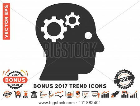 Orange And Gray Intellect Gears icon with bonus 2017 year trend icon set. Vector illustration style is flat iconic bicolor symbols white background.