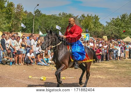 Horse warrior troops Zaporizhzhya Cossack in celebration of Dnge of independence in the city Gulyai Pole in the Zaporozhye region of Ukraine. August 2006