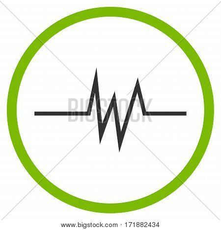 Pulse Signal rounded icon. Vector illustration style is flat iconic bicolor symbol inside circle eco green and gray colors white background.
