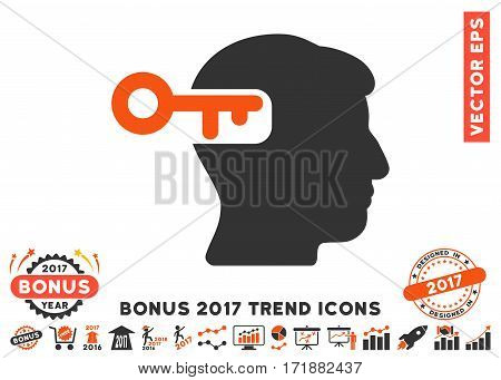 Orange And Gray Intellect Key pictogram with bonus 2017 year trend clip art. Vector illustration style is flat iconic bicolor symbols white background.