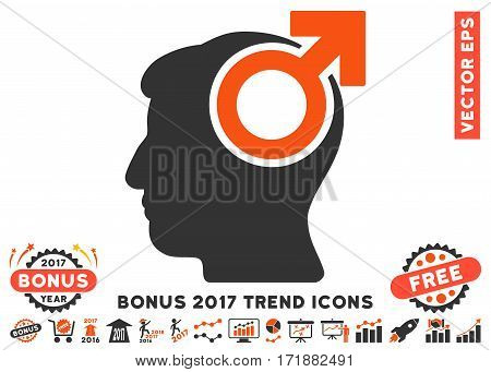 Orange And Gray Intellect Potency icon with bonus 2017 year trend pictures. Vector illustration style is flat iconic bicolor symbols white background.