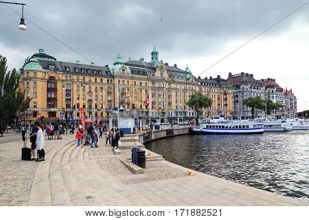 STOCKHOLM, SWEDEN - JUNE 28, 2016: Cove Nybroviken in the central part of the city is the starting point for a voyage on the Stockholm archipelago.