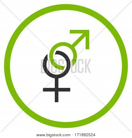 Sex Symbol rounded icon. Vector illustration style is flat iconic bicolor symbol inside circle eco green and gray colors white background.