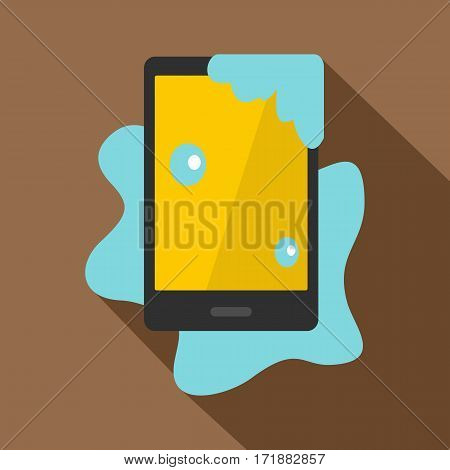 Wet phone icon. Flat illustration of wet phone vector icon for web