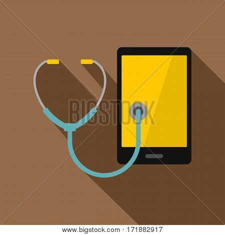 Phone diagnosis icon. Flat illustration of phone diagnosis vector icon for web