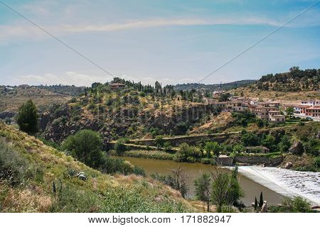 the Tagus river, the view from the bridge of St. Martin in Toledo, Spain. May 2006