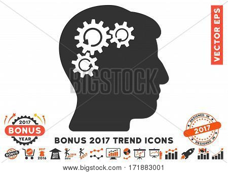 Orange And Gray Mind Gear Rotation icon with bonus 2017 year trend pictograms. Vector illustration style is flat iconic bicolor symbols white background.