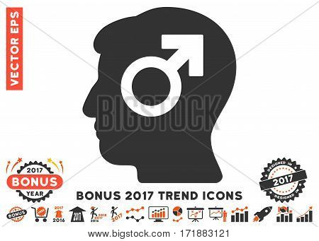 Orange And Gray Mind Potency pictograph with bonus 2017 trend pictograph collection. Vector illustration style is flat iconic bicolor symbols white background.