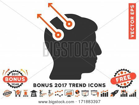 Orange And Gray Neural Interface Plugs icon with bonus 2017 trend pictures. Vector illustration style is flat iconic bicolor symbols white background.