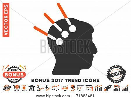 Orange And Gray Neural Interface pictograph with bonus 2017 year trend symbols. Vector illustration style is flat iconic bicolor symbols white background.