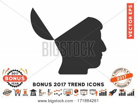 Orange And Gray Open Mind pictograph with bonus 2017 trend clip art. Vector illustration style is flat iconic bicolor symbols white background.