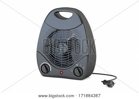 black fan heater closeup 3D rendering isolated on white background
