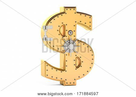 safe box in shape of sign dollar 3D rendering isolated on white background
