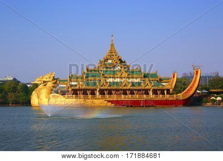 The Floating Barge Karaweik in Yangon, Myanmar (Burma)