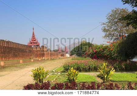 Wall of the Royal Palace and Mandalay Hill in Myanmar (Burma)