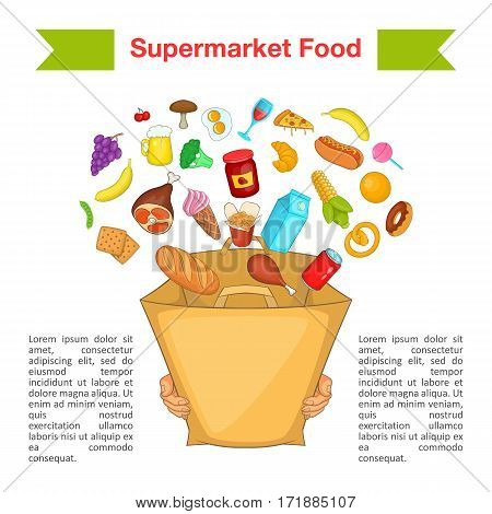 Food supermarket bag concept. Cartoon illustration of food supermarket bag vector concept for web