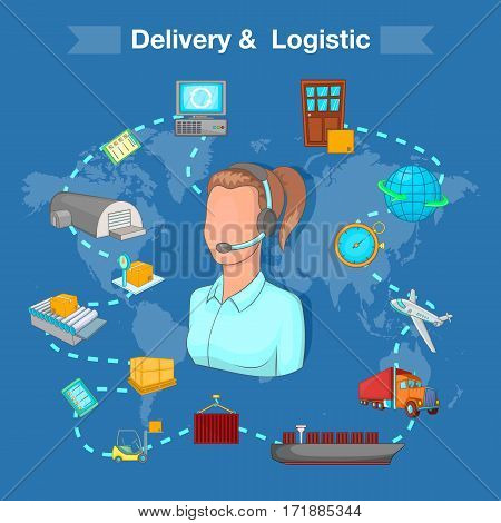Delivery and logistic concept set. Cartoon illustration of delivery and logistic vector concept for web