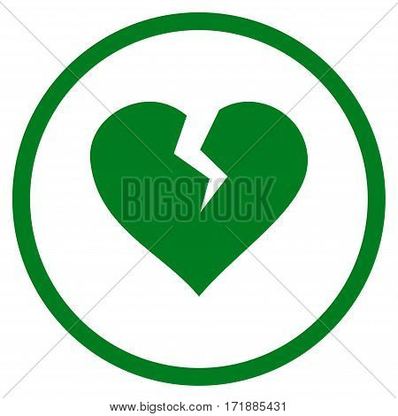 Heart Break rounded icon. Vector illustration style is flat iconic bicolor symbol inside circle green and gray colors white background.